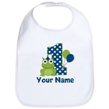 1st Birthday Frog Blue Bib