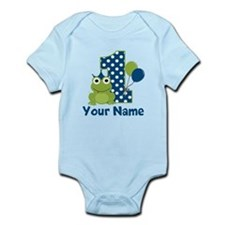 1st Birthday Frog Blue Body Suit