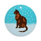 Calico Cat Christmas Ornament (Round)