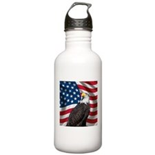 USA flag with bald eagle Water Bottle