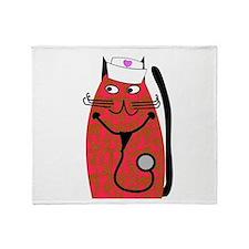 nurse cat 3 Throw Blanket
