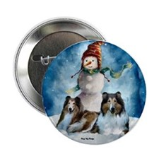 "Rough Collie Christmas Gifts 2.25"" Button (10 pack"