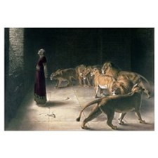 Daniel in the Lions Den, mezzotint
