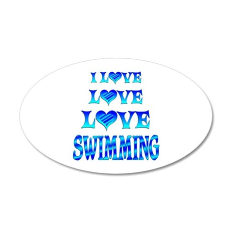 Love Love Swimming 20x12 Oval Wall Decal
