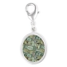 Easy Money Silver Oval Charm