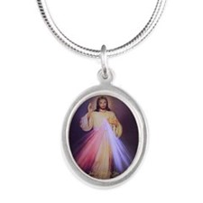 Divine Mercy Gold 2013 Silver Oval Necklace