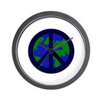 Earth Peace Sign Wall Clock