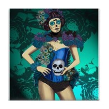 Peacock - dia de los muertos Pin-up Tile Coaster