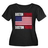 Boston Strong Women's Plus Size Scoop Neck Dark T-
