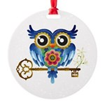 Owl on Skeleton Key Ornament