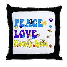peace love honeybees 2 Throw Pillow