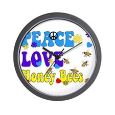 peace love honeybees 2 Wall Clock