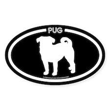 """Pug Black Oval Decal"