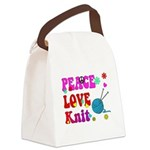 peace love knit Canvas Lunch Bag