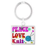 peace love knit Keychains