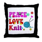 peace love knit Throw Pillow