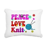 peace love knit Rectangular Canvas Pillow