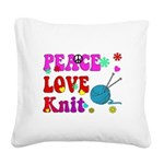 peace love knit Square Canvas Pillow