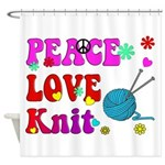 peace love knit Shower Curtain
