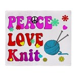 peace love knit Throw Blanket