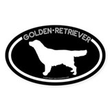 """Golden Reitrever"" Blcak Oval Decal"
