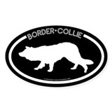 """Border Collie"" Black Oval Decal"