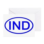 India - IND Oval Greeting Cards (Pk of 10)