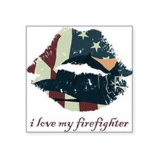"firefighterkiss.png Square Sticker 3"" x 3"""
