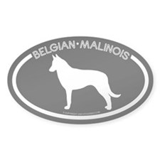 """Belgian Malinois"" Black Oval Decal"