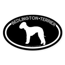 """Bedlington Terrier"" Black Oval Decal"