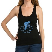 Blue Cycling Design and Text. Racerback Tank Top