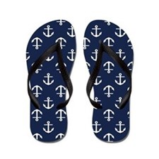 Blue Anchors Flip Flops
