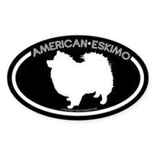 """American Eskimo"" Black Oval Decal"