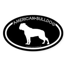 """American Bulldog"" Black Oval Decal"