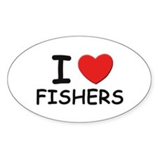 I love fishers Oval Decal
