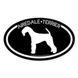 """Airedale Terrier"" Black Oval Decal"