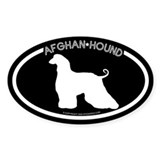 """Afghan Hound"" Black Oval Decal"