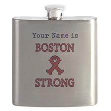 Boston Strong Ribbon Lt - Personalized! Flask