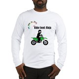 Ninja riding green motocross bike Long Sleeve T-Sh