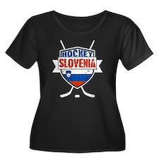 Hockey Hokej Slovenia Shield Plus Size T-Shirt