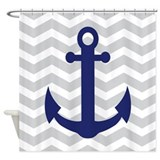 Nautical chevron Shower Curtains