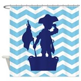 Chevron lil' Pirate Shower Curtain