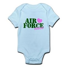 Air Force Niece Green Pink Heart Body Suit