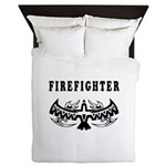 Firefighter Eagle Tattoo Queen Duvet