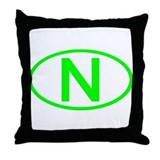 Norway - N Oval Throw Pillow