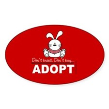 Adopt a bunny Oval Decal
