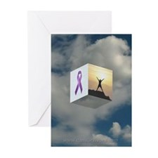 Purple Ribbon Greeting Cards (Pack of 6)
