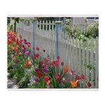Tulips Along White Picket Fence Throw Blanket