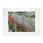Tulips Along White Picket Fence 5'x7'Area Rug
