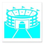 Cyan Stadium Square Car Magnet 3